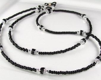 BLACK LACE Glass Beaded Eyeglasses Leash - Chain in black