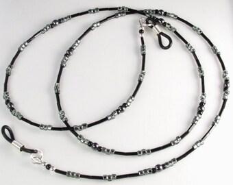 Eyeglasses Holder HEMATITE Black and Gray Beaded Eyeglasses Leash - Chain