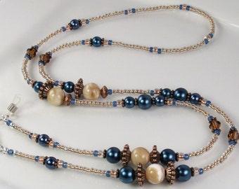 Elegant Eyeglass Leash, Eyeglass Holder Blue Pearl Glass Beaded Eyeglass Chain Women's gift