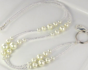 Cream Pearls Beaded Lanyard SIMPLICITY Lanyard ID Badge Holder Breakaway Lanyard Magnetic
