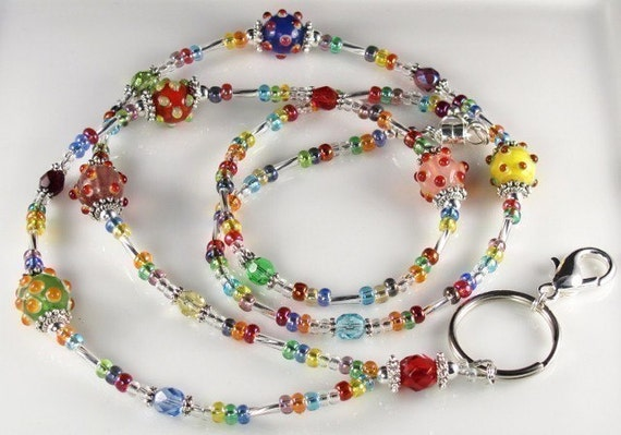 Beaded Lanyard CARNIVAL DREAMS glass id badge holder - multicolor
