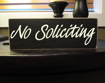 No Soliciting sign, front door wood sign, welcome - Style NS1