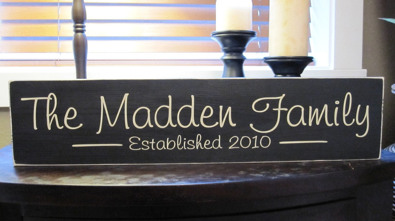 Custon Family Name Wood Sign Established Year With Vinyl