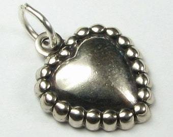 Dotted Heart Charm Antiqued Sterling Silver (1 piece)