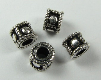 Small Dotted Ring Beads Bali Sterling Silver 5mm (6 beads)