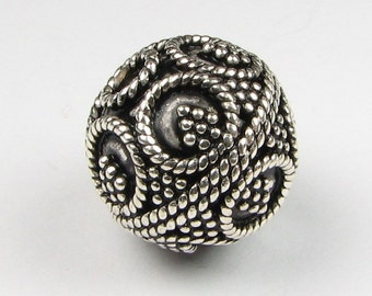 14mm Round Bali Sterling Silver Focal Bead with Fine Twisted Circles and Dots, Granulation Design, Jewelry Making Bead (1 bead)
