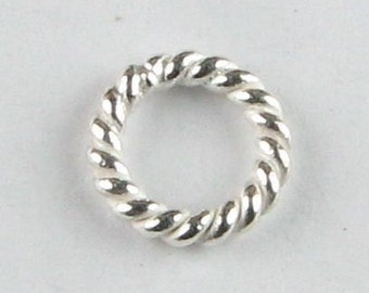 6mm Bright Bali Sterling Silver Twisted Rings (10 beads)