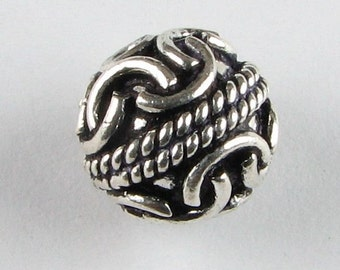 Interesting Bali Sterling Silver Bead with Rope Design 10mm Antiqued Sterling Silver Round Bead (1 bead)