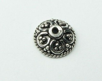 7mm Pretty Parasols Bali Sterling Silver Bead Caps 7mm Beadcaps, Jewelry Making Supplies Findings  (2 beads)