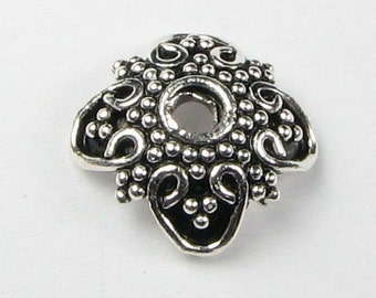 Large Oxidized 13mm Bali Sterling Silver Bead Caps with Dots and Hearts (2 beads)