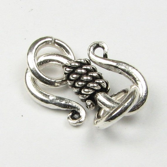 S Shape Clasp with Twisted Wire Rope Design and Closed Jump Rings - Bali Sterling Silver (1 set) LAST ONE