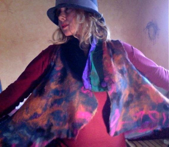The Elegant Nuno Felted Vest Reserved for Christine