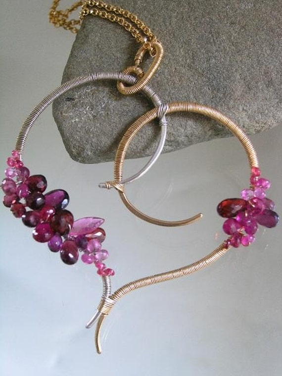 Sculptural Heart...Signature Original Sculptural Mixed Metal Stylized Heart Pendant w/red and magenta hued gemstones