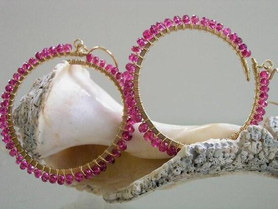 Fuchsia is Love...Vivid Pink Tourmaline Rimmed Signature Original Gold Filled Hoop Earrings