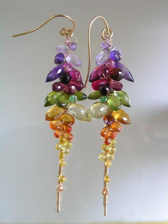 City Girl Chases the Rainbow...Rainbow Gemstone Encrusted Signature Original Gold filled Lengthy Stem Earrings