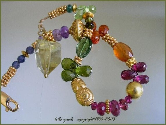 Between the Rainbow... Signature Original Vibrant Gemstone and Vermeil Layering Bracelet