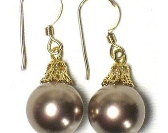 Bronze Swarovski Pearl Gold Dangle Earrings