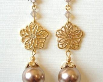 Bronze Swarovski Pearl Oriental Gold Cubic Earrings