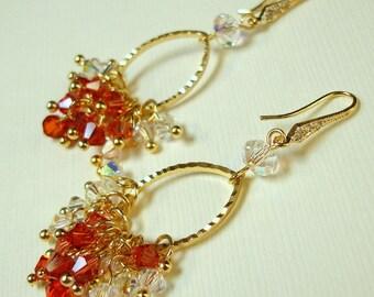 Splendid Orange Tone Swarovski crystals Oval Gold Earrings