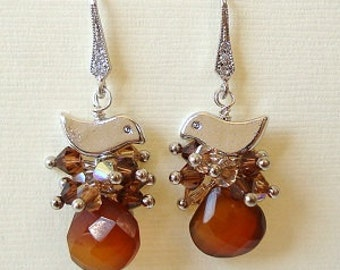 Honey Abmer Chalcedony Briolette with Bird Sitting on the Swarovski Nest Silver Earrings with Cubic