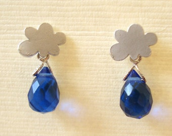 Blue Quartz with Cute Cloud Silver Stud Earrings Rain Drop