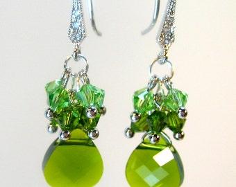 Green Swarovski Crystals Cluster Earrings