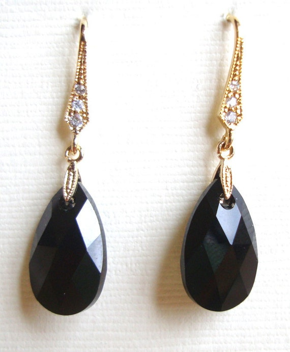 Black Swarovski Teardrop Gold Cubic Decorated Earrings
