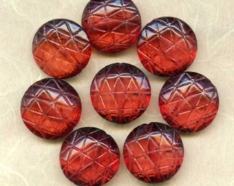 Eight Large Vintage German Lucite Beads Translucent Cherry Amber Round Tabulars 18x9mm