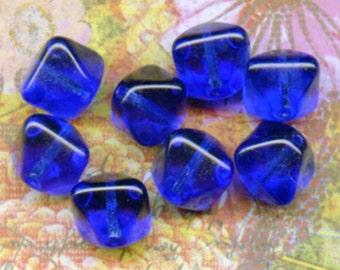Vintage Cobalt Blue Glass Beads, Diamonds (10)
