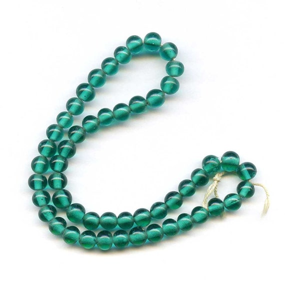 Vintage Emerald Glass Beads on Strand, Fifty Beads