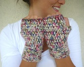 Colorful Chunky Gloves - Ivory - Pink - Green - Blue - Purple - Yellow - Red