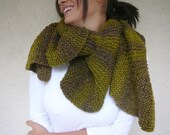 Olive Green Blended Gray - Brown Shawl