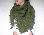 Wool Shawl - Forest Green