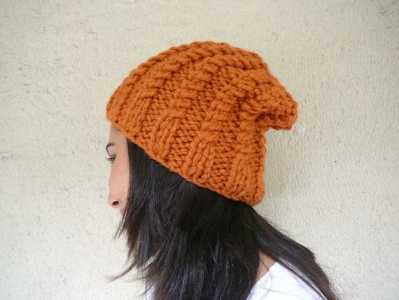 Orange Cable Knit Chunky Beanie