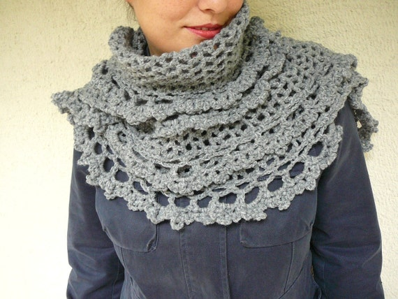 Grey Shawl With Crocheted Lace