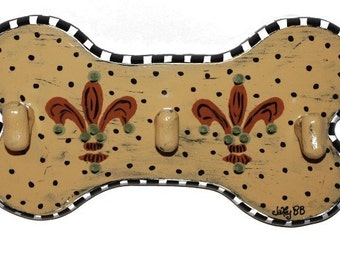 CLEARANCE!! Ochre Provence Leash Hook by Jakey BB, Hand-Painted Dog Bone Plaque Leash Hook