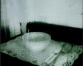 Porridge - Surreal White Bowl Place Setting Polaroid Photography Print - Mint Green Grainy Bowl and Spoon Photo
