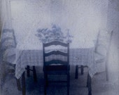 Kitchen Table in Blue -Hazy Vintage Summer Kitchen Table Scene With Fruit Basket and Table Cloth Polaroid Photo Print