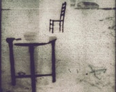 Solitaire -Surreal Lonely Outdoor Table and Chair Polaroid Photo Print - Avant Garde Sepia Black and White Photography