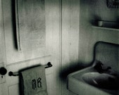 Wash - Grunge Film Noir Bathroom Scene Polaroid Photo Print - Old Sink and Door Towel Racks - Streaky Gritty Expired Film