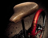 White Saddle - Surreal Red Bicycle White Seat Night Photography Print - sMacshop