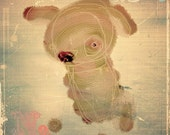 Octpuplet  No. 1 -Beige Puppy Dog Illustration Quirky Drawing Print -Hand Drawn Digital Paint