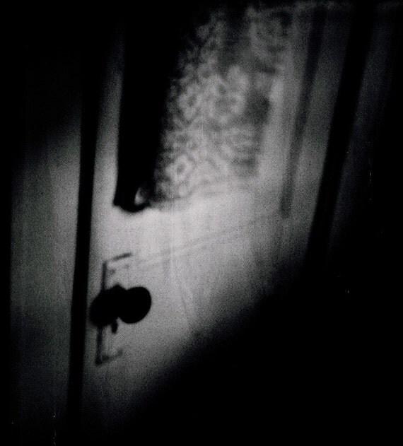 Dramatic Spooky Door Dark Shadowy Noir Suspense Expired Film Photography Print - Bathroom Door Noir