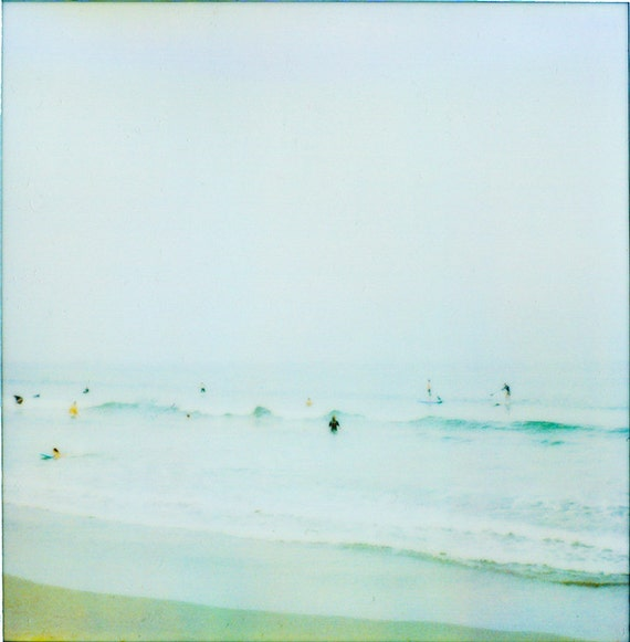 A Gentle Surf - Aqua Beach Photo Print  -Real Film Photography - Pastel Colored Beach Art - Impressionistic Photography