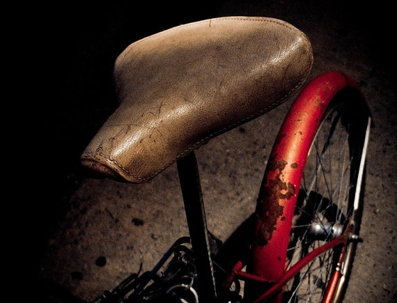 White Saddle - Surreal Red Bicycle White Seat Night Photography Print - Captivating Bike Seat in the Dark - NYC Street Photography