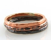 Stacking Eco Friendly Reclaimed Copper Ring Trio with Fade to Black Finish and Tree Bark Texture, Luster