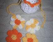 Crochet Cotton Flower Face Scrubbies\/Makeup Remover and BAG