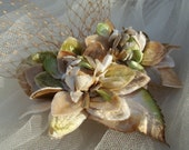Bridal Headpiece of Vintage Millinery Flowers in Taupe and Apple Green--Ready to Ship