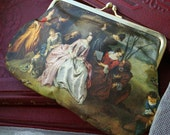 Tiny Vintage Cosmetic Bag Purse, Romantic French Scene
