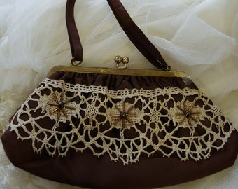 Vintage Handbag in Chocolate Satin, Handbeaded and Embellished with Antique Lace